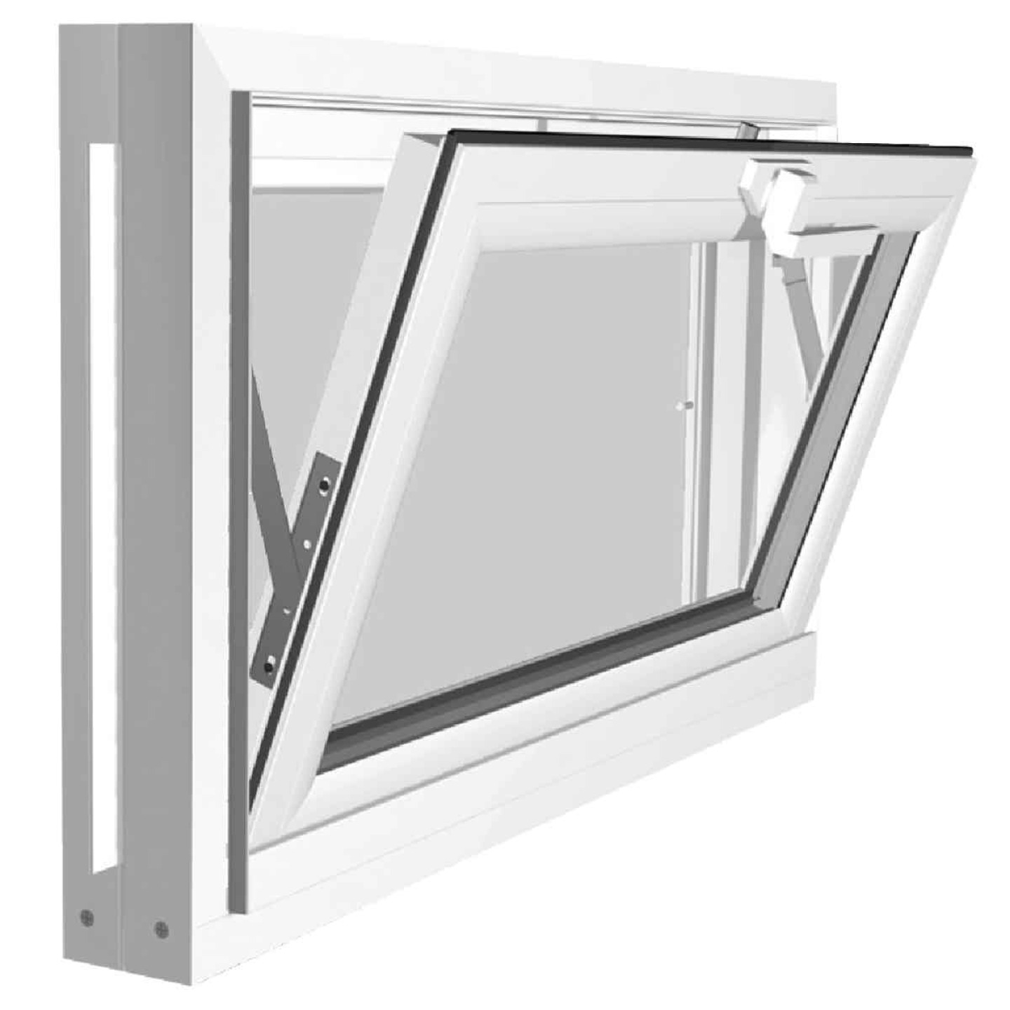 Northview Hemlock Hopper 32 In. W x 15-1/4 In. H White PVC Basement Window Image 2