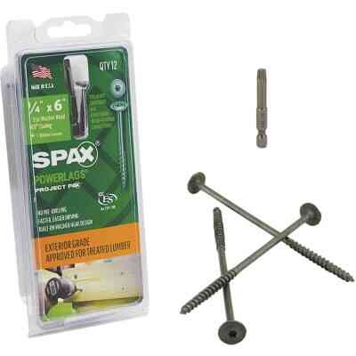 Spax PowerLags 1/4 In. x 6 In. Washer Head Exterior Structure Screw (12 Ct.)