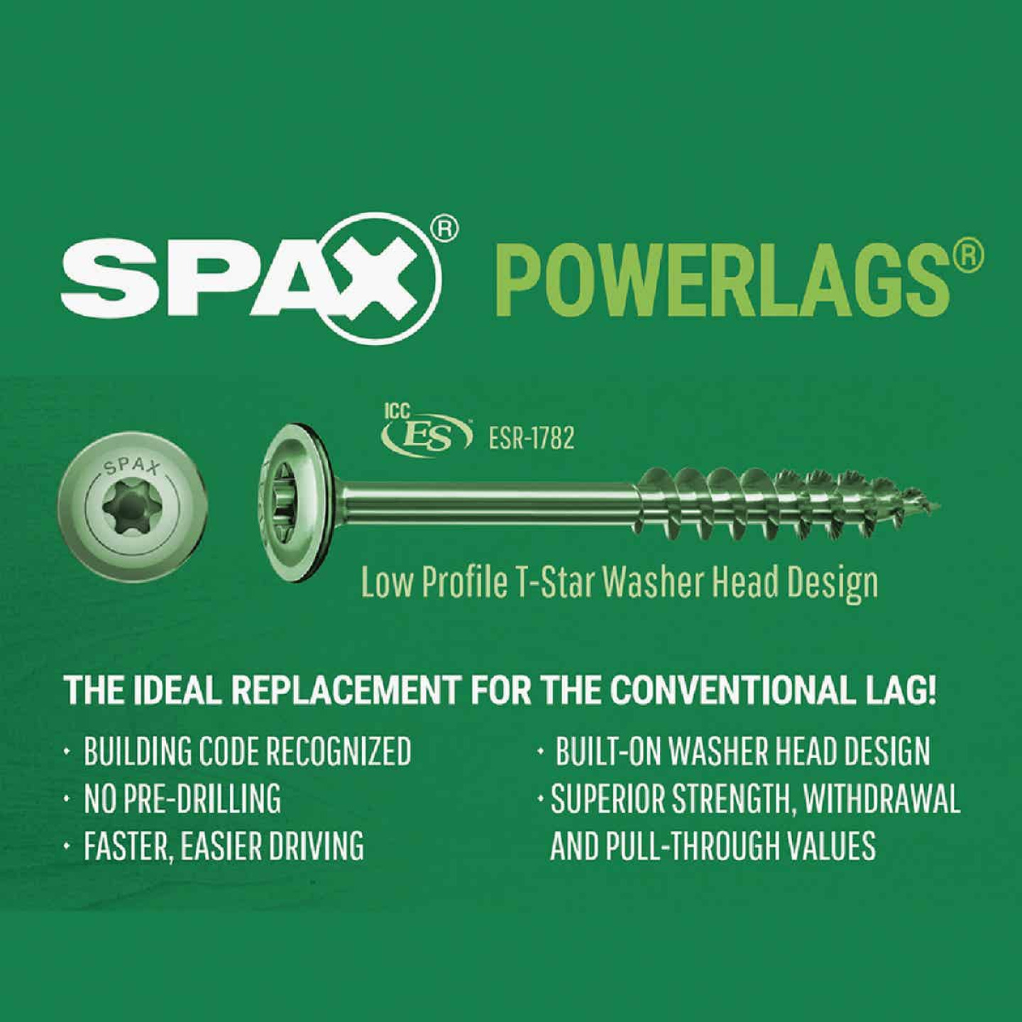 Spax PowerLags 5/16 In. x 10 In. Washer Head Exterior Structure Screw (12 Ct.) Image 4