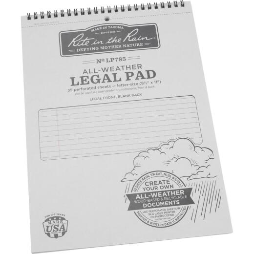Rite in the Rain 8-1/2 In. W x 11 In. H 35-Sheet Gray Top Spiral Bound All-Weather Legal Pad