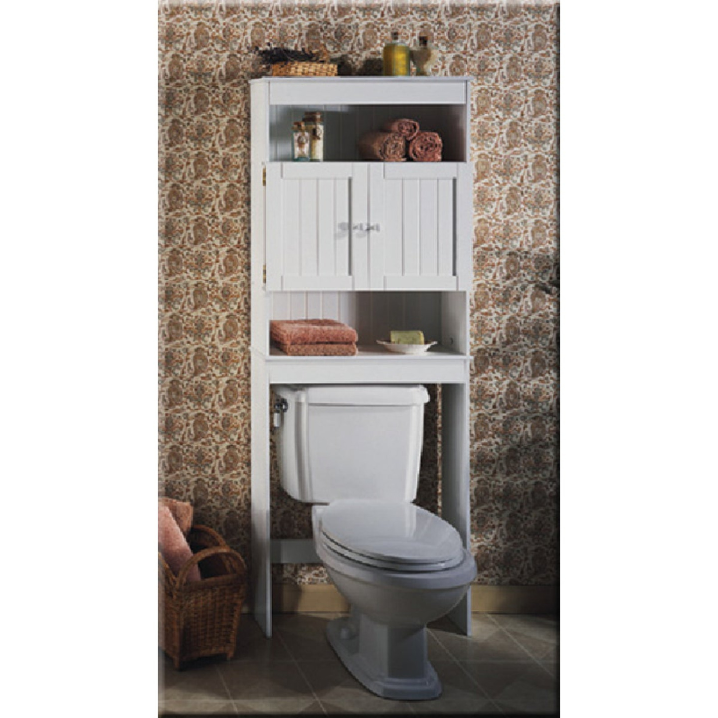 Zenith Country Cottage White Over-the-Toilet Cabinet, 2 Door/3 Shelf Image 1