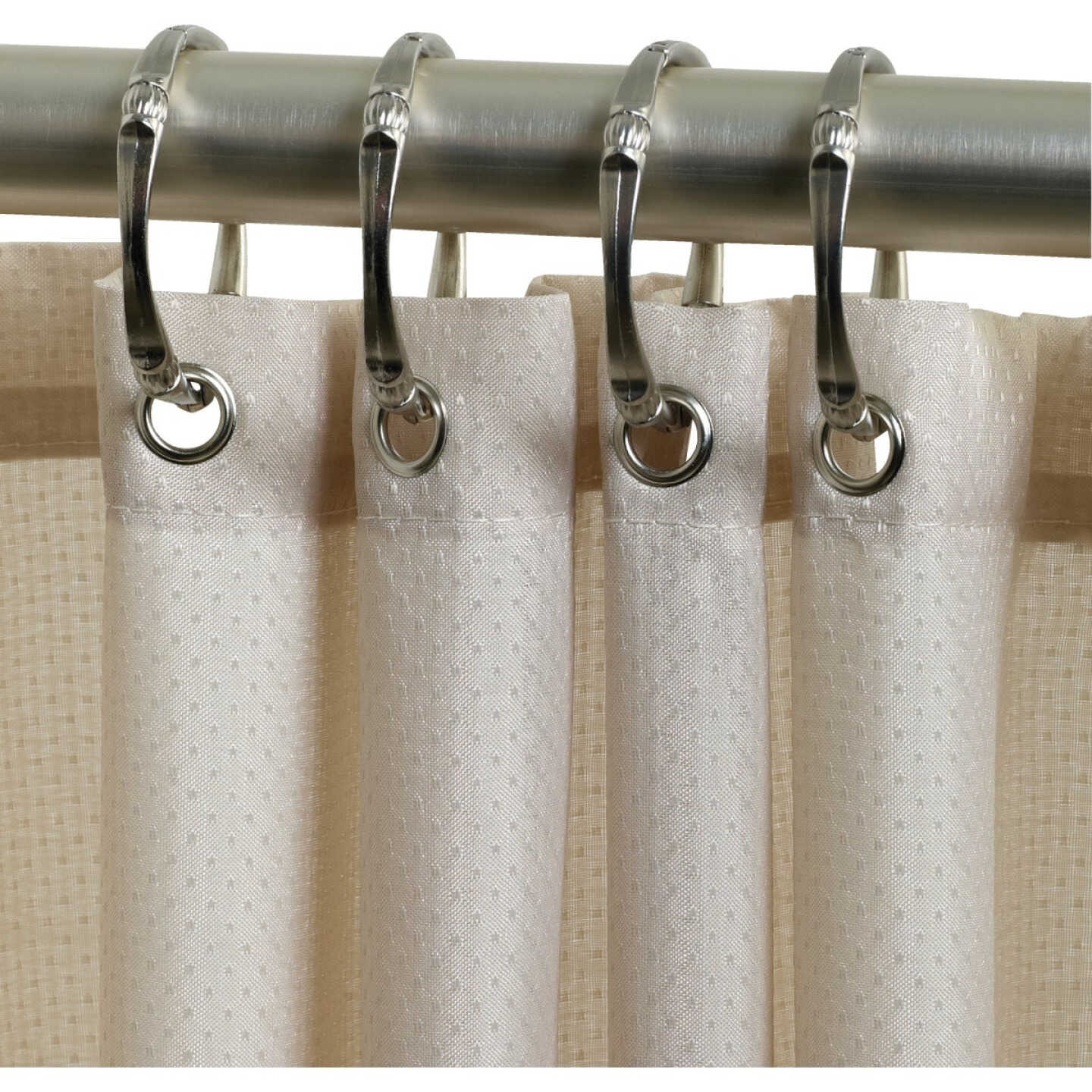 Zenith Zenna Home 70 In. x 72 In. Taupe Fabric Shower Curtain Image 1