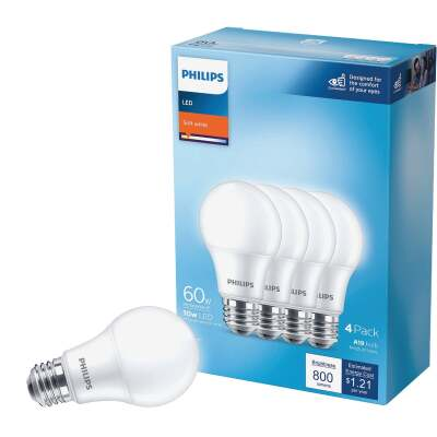 Philips 60W Equivalent Soft White A19 Medium LED Light Bulb (4-Pack)