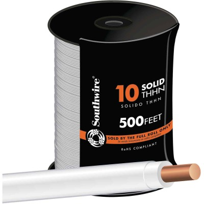 Southwire 500 Ft. 10 AWG Solid White THHN Wire