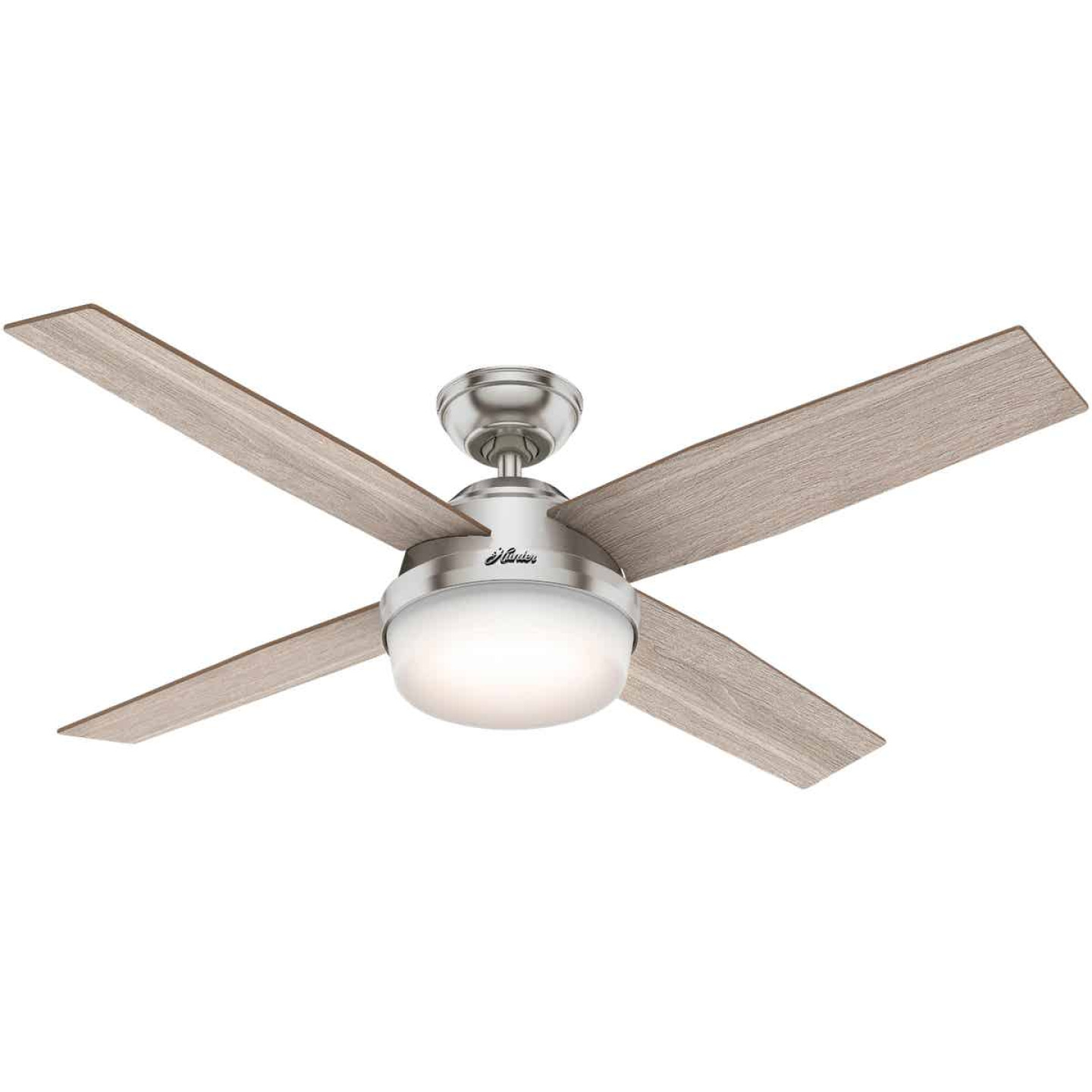 Hunter Dempsey 52 In. Brush Nickel Ceiling Fan with Light Kit Image 1