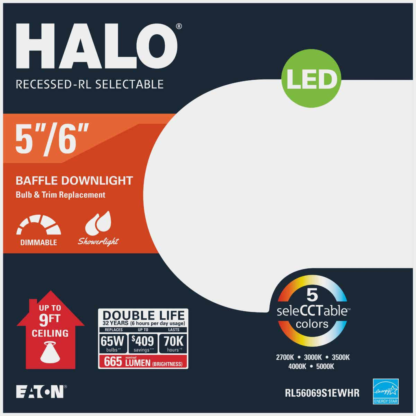 Halo 5 In./6 In. Retrofit Baffle Selectable Color Temperature LED Recessed Light Kit, 712 Lm. Image 2