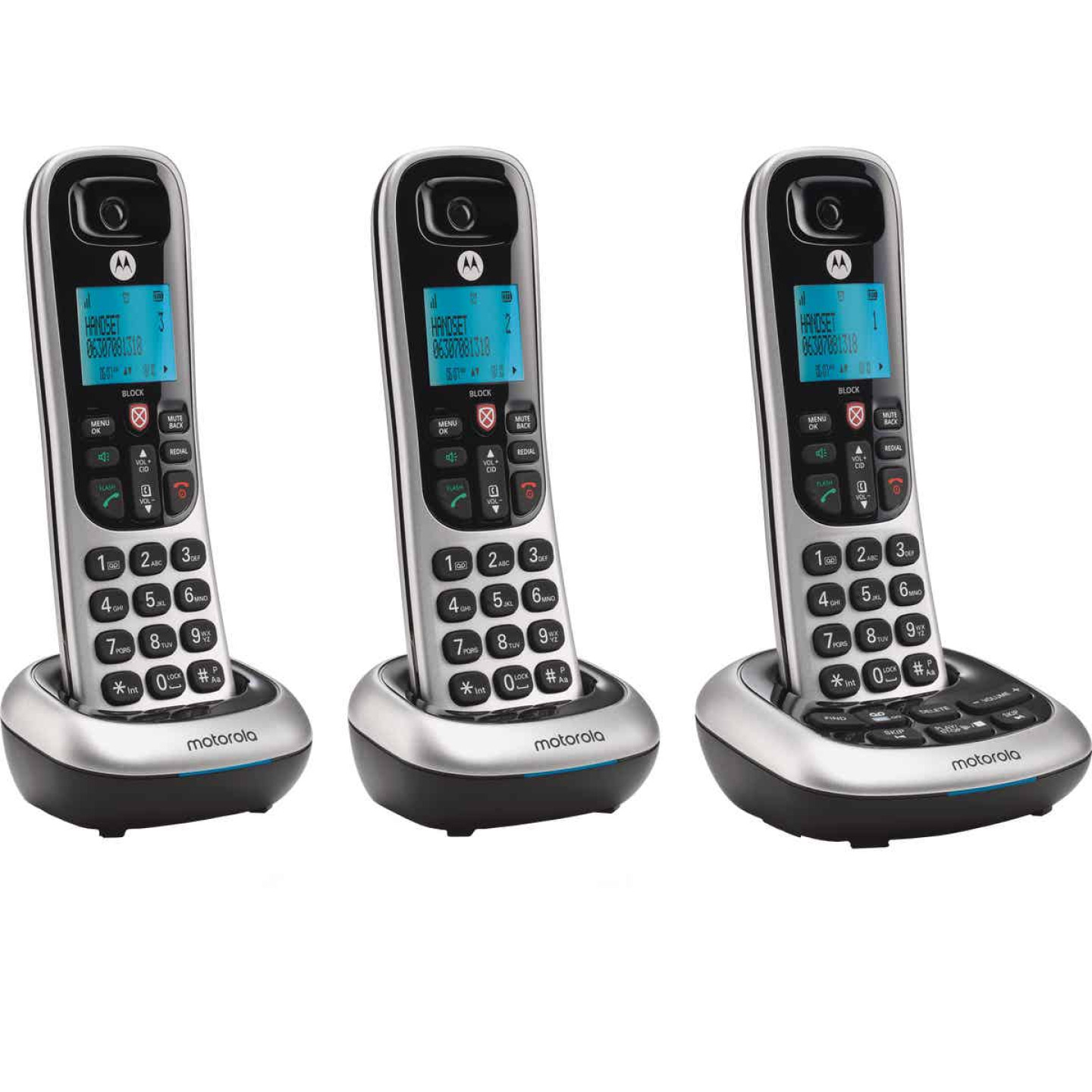 Motorola 1-Line 3-Handset Silver Cordless Phone with Answering System Image 1