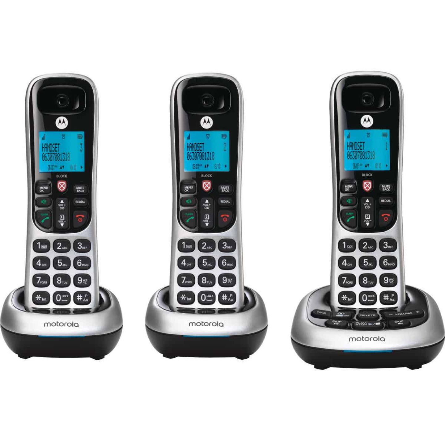 Motorola 1-Line 3-Handset Silver Cordless Phone with Answering System Image 2