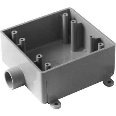 Carlon 2-Gang PVC Molded Rigid Non-Metallic Dead-End Termination Wall Box, 3/4 In. Outlet