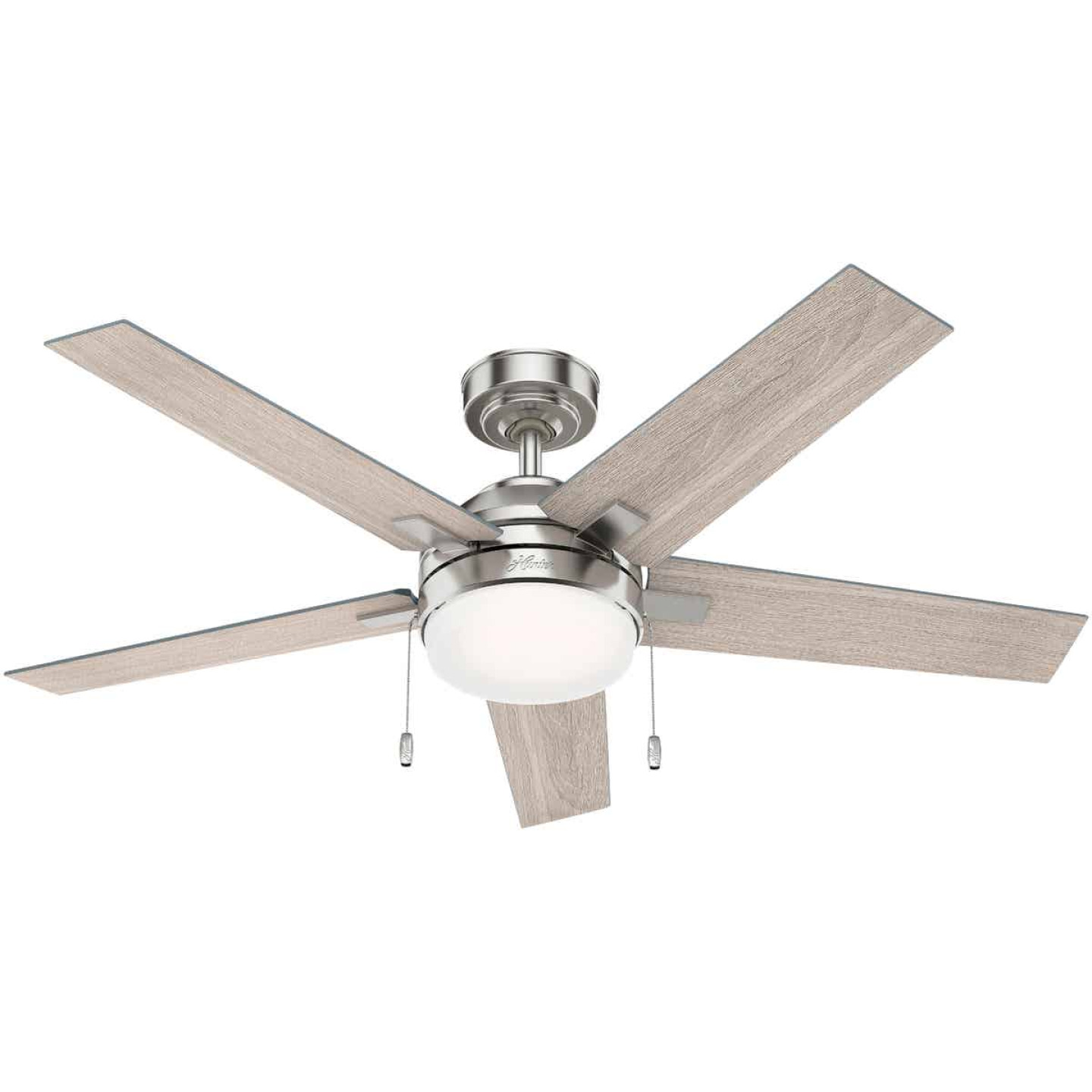 Hunter Bartlett 52 In. Brushed Nickel Ceiling Fan with Light Kit Image 1