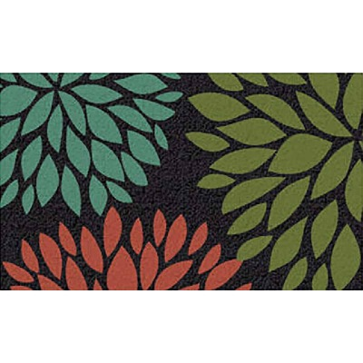 Americo Home Front Runner 18 In. x 30 In. Green Flowers Mat
