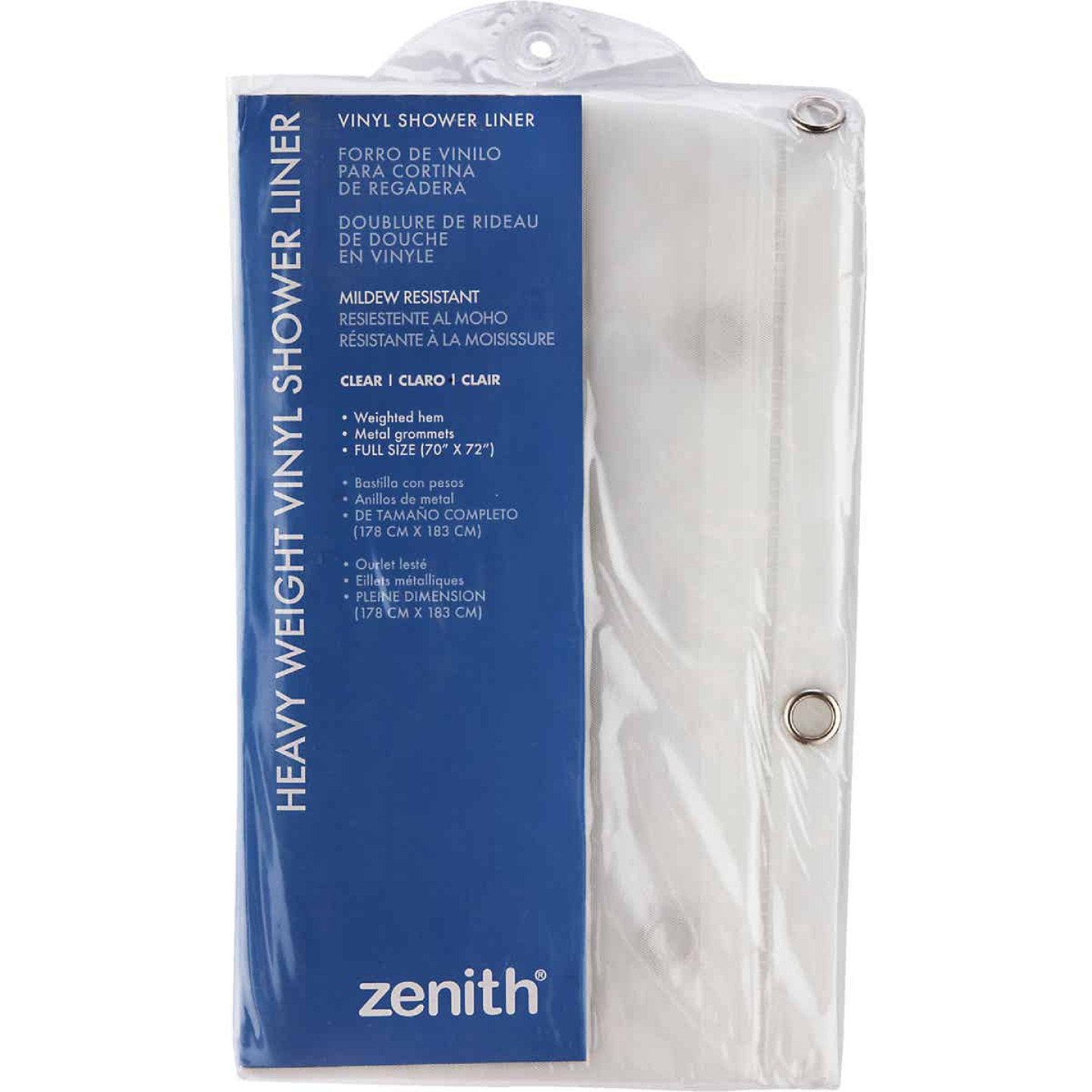 Zenith 70 In. x 72 In. Clear Medium Gauge PEVA Shower Curtain Liner Image 1