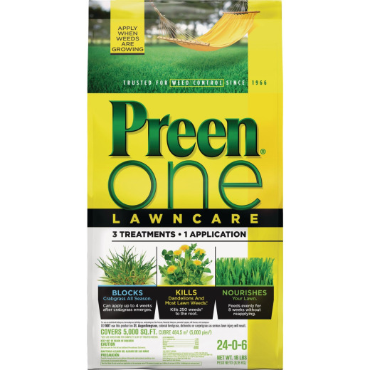 Preen One Lawn Care 18 Lb. Ready To Use Granules Weed Killer with Fertilizer