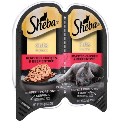 Sheba Perfect Portions Cuts in Gravy 2.6 Oz. Roasted Chicken & Beef Adult Wet Cat Food
