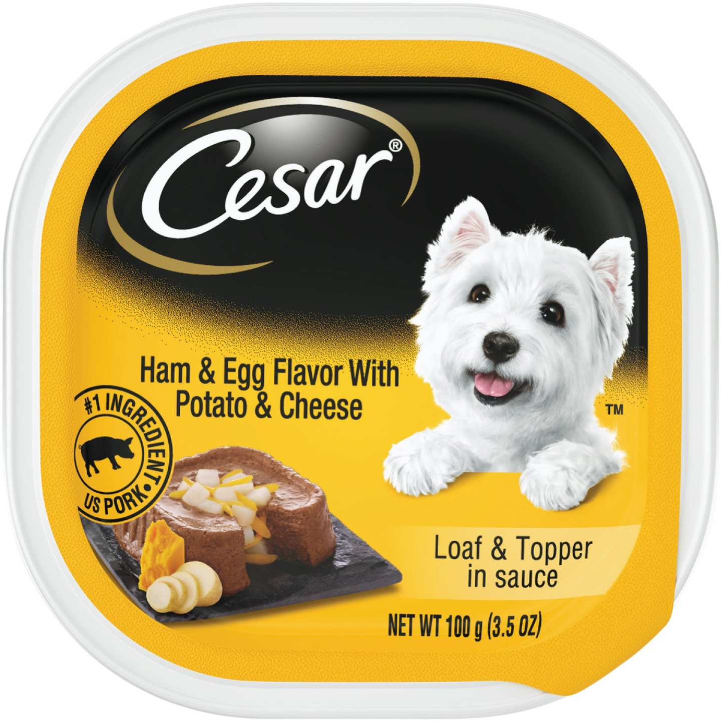 Cesar Loaf & Topper Ham & Egg with Potato & Cheese Adult Wet Dog Food, 3.5 Oz. Image 1