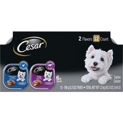 Cesar Loaf & Topper Rotisserie Chicken with Bacon & Cheese/Filet Mignon with Bacon & Potato Variety Adult Wet Dog Food (12-Pack)