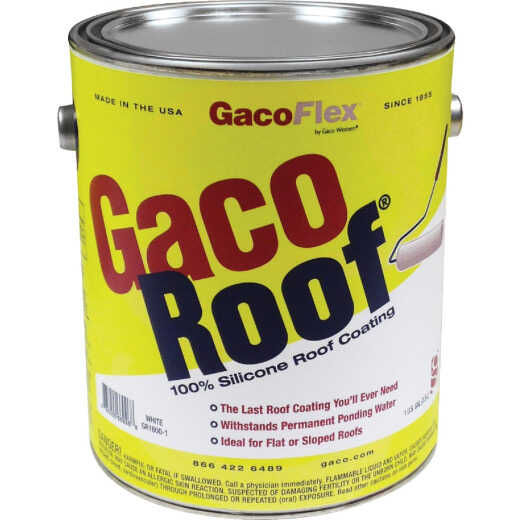 GacoFlex GacoRoof Silicone Roof Coating, White, 1 Gal.
