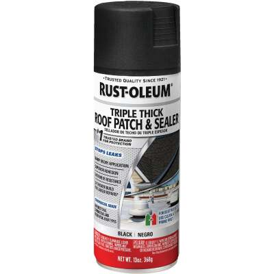Rust-Oleum 13 Oz. Roofing Triple Thick Roof Patch & Sealer Black Spray