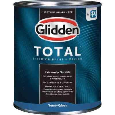 Glidden Total Interior Paint + Primer Semi-Gloss Ultra Deep Base Quart