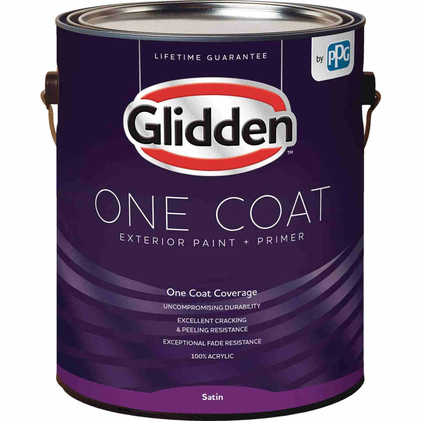 Glidden One Coat Exterior Paint + Primer Satin White & Pastel Base 1 Gallon Image 1